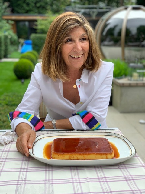 Maria José Sevilla with one of her favourite desserts cuban flan